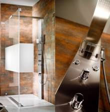Produktbild: Duschpaneel Lavida mit Traverse 2200 x 210 x 75 mm edelstahl-look