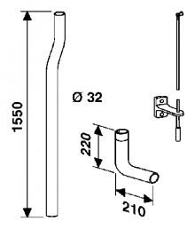 Produktbild: SANIT JUNIOR JET Spülrohr mit Bogen, weiß