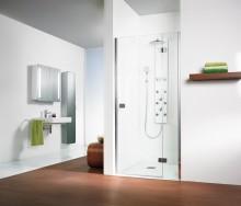 Produktbild: HSK Duschkabine Premium Softcube Drehtür Nische Pendelbar, Echtglas, Chromoptik, Breite 75 - Türseite Links