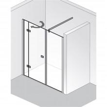 Produktbild: HSK Duschkabine Premium Softcube Drehtür Raumnische Pendelbar, Echtglas, Chromoptik, Breite 140 - Türseite Links