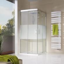 Produktbild: HSK Duschkabine Solida Gleittür Eckeinstieg bodenfrei, 4-teilig, Echtglas, Alu silber-matt - L90 x R90