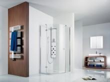 Produktbild: HSK Duschkabine Premium Softcube Runddusche, 3-teilig, Echtglas, Chromoptik, Radius 550 - L80 x R80 - Anschlag Links