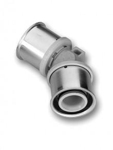 Produktbild: ROTH Kunststoff PPSU Winkel 45 Grad  32 x 32  mm, inkl.  2 Presshülsen