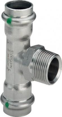 """Produktbild: SANPRESS INOX T-Stück Edelstahl 2317.1 28 mm x 3/4"""" AG x 28 mm"""