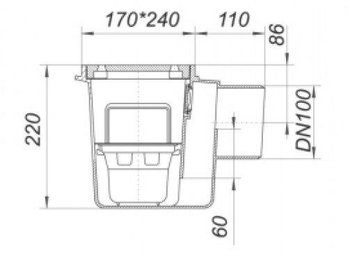 dallmer keller ablauf 71 dn 100 reinigungsverschl u schlamm e klasse k 710062 dallmer gmbh. Black Bedroom Furniture Sets. Home Design Ideas