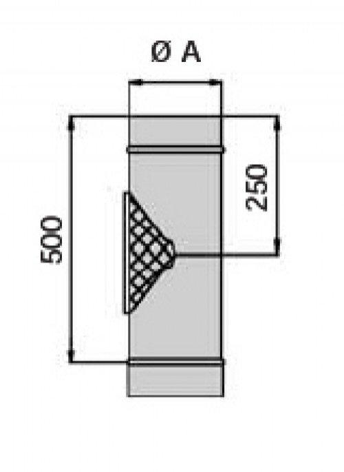 schornstein doppelwandig reinigungsst ck mit mess ffnung dn 200 14042005110a sur edelstahl. Black Bedroom Furniture Sets. Home Design Ideas