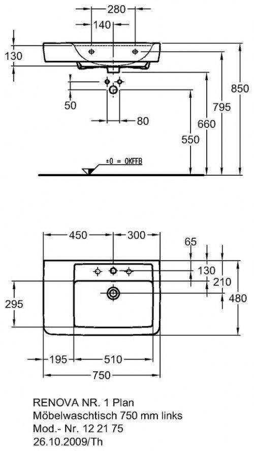 renova nr 1 plan waschtisch 750 x 480 mm mit hahnloch und berlauf weiss 122175 keramag. Black Bedroom Furniture Sets. Home Design Ideas