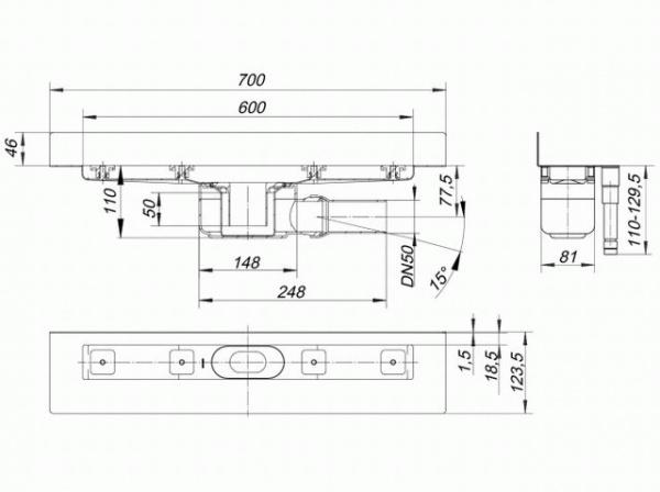 dallmer ceraline w duschrinne 600 mm au en 700 mm bauh he 110mm 520128 dallmer gmbh. Black Bedroom Furniture Sets. Home Design Ideas