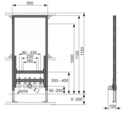 wc vorwand mit tece bidet bh 1120 9330000 tece hahn. Black Bedroom Furniture Sets. Home Design Ideas