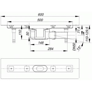 dallmer ceraline f duschrinne 500 mm au en 600 mm bauh he 110mm 520012 dallmer gmbh. Black Bedroom Furniture Sets. Home Design Ideas