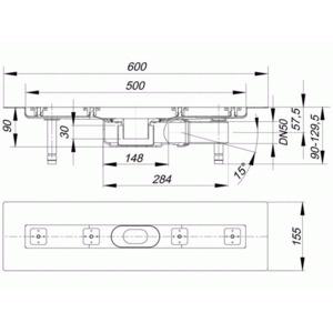 dallmer ceraline plan f duschrinne 500 mm au en 600 mm bauh he 90mm 523013 dallmer. Black Bedroom Furniture Sets. Home Design Ideas
