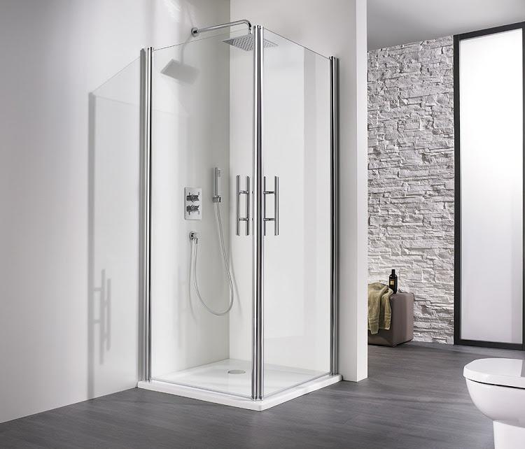 hsk duschkabine exklusiv eckeinstieg 2 teilig echtglas chrom optik l75 x r90 420012 c. Black Bedroom Furniture Sets. Home Design Ideas