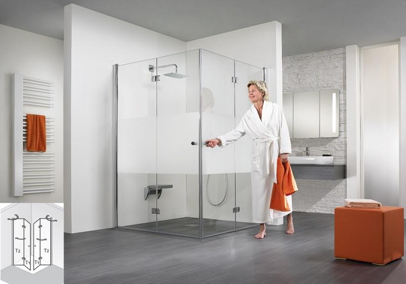 hsk duschkabine exklusiv eckeinstieg mit drehfaltt r echtglas sonderfarben l80 x r80 426014. Black Bedroom Furniture Sets. Home Design Ideas
