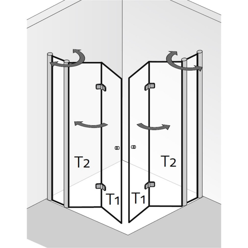 hsk duschkabine exklusiv eckeinstieg mit drehfaltt r an. Black Bedroom Furniture Sets. Home Design Ideas