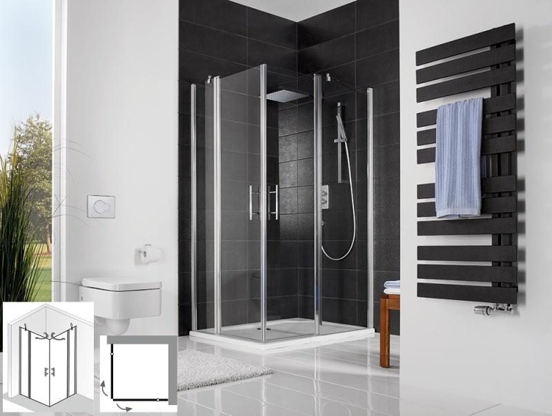 hsk duschkabine favorit nova eckeinstieg 4 teilig echtglas alu silber matt l80 x r75 126013. Black Bedroom Furniture Sets. Home Design Ideas