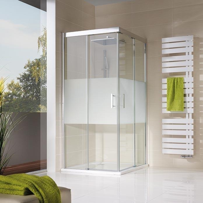 hsk duschkabine solida gleitt r eckeinstieg bodenfrei 4 teilig echtglas alu silber matt l90. Black Bedroom Furniture Sets. Home Design Ideas