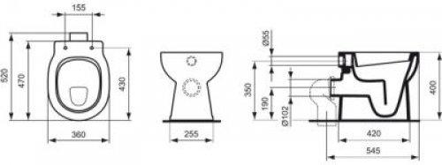 connect stand flachsp l wc abgang au en waagrecht wei beschichtung mit ideal plus e8044ma. Black Bedroom Furniture Sets. Home Design Ideas
